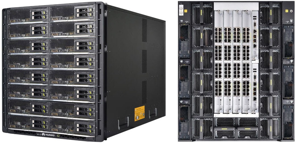 Huawei E9000 Converged Infrastructure Blade Server Chassis Front and Rear