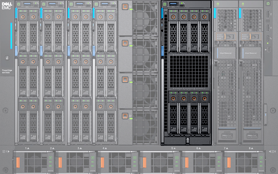 Dell EMC PowerEdge MX 7000 Front with MX840c